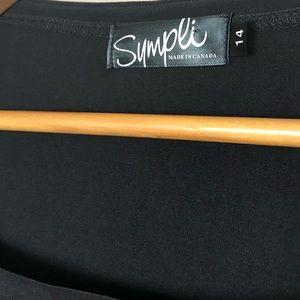 sympli Tops - Sympli Black Long Sleeve Split Hem Blouse Shirt 14